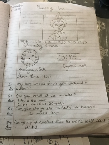 Maths- measuring time by Anaya, Bluec lass
