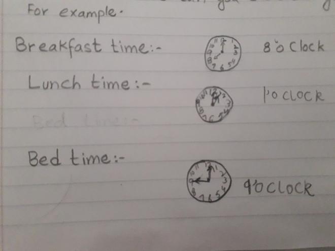 Maths- daily routine by Rayan, Bulu class.