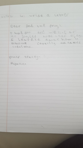Writing-A letter to Fred by Ayaan, EKalter class