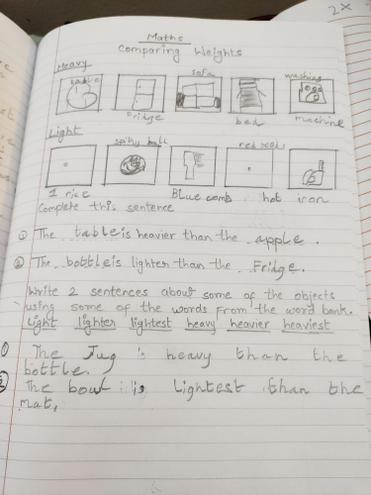 Maths-comparing weights-by Aditya, Blue class