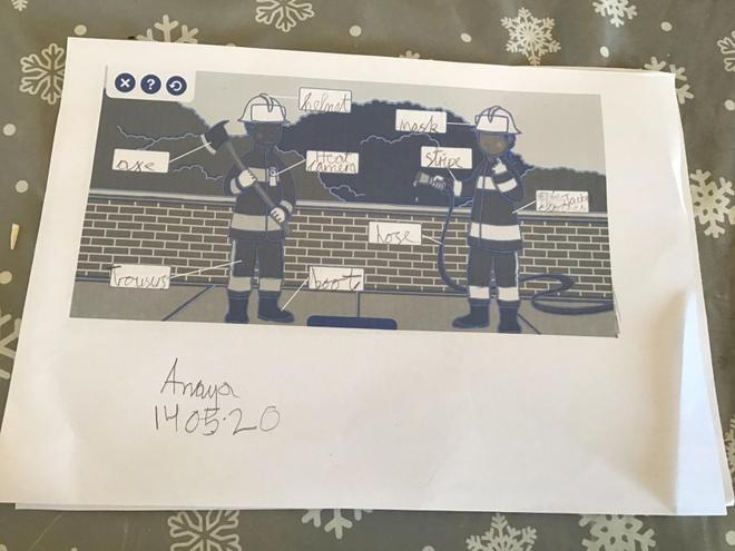 Writing- Labelling firefighters by Anaya, Blue