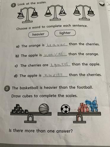 Maths-comparing weights,