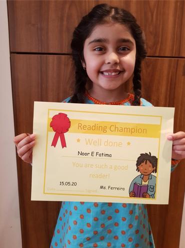 15th May Reading Champion- Noor E Fatima-Bulu