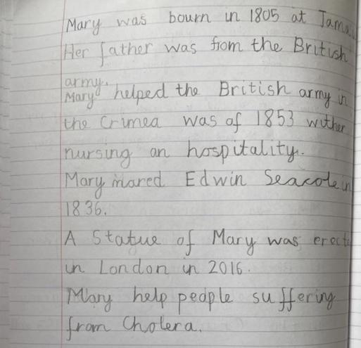 Writing-Mary Seacole Report by Aryav, E Kalter