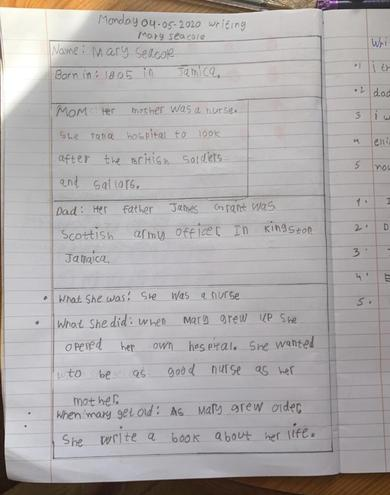 Writing- Mary Seacole Report by Guramrit, Bulu