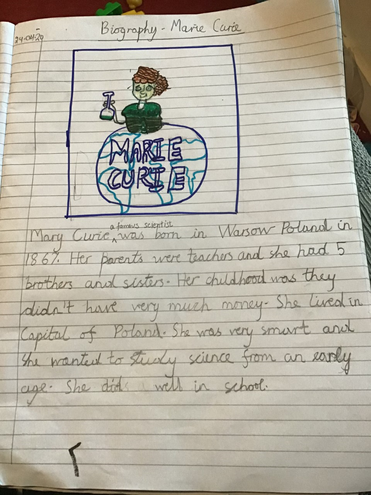 Writing-Marie Currie's biography by Anaya, Blue
