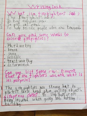 Writing- Firefighter by Fatima, Bulu