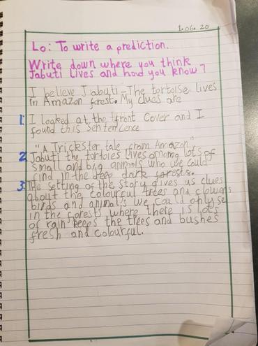 Literacy- Writing a prediction by Fatima, Bulu