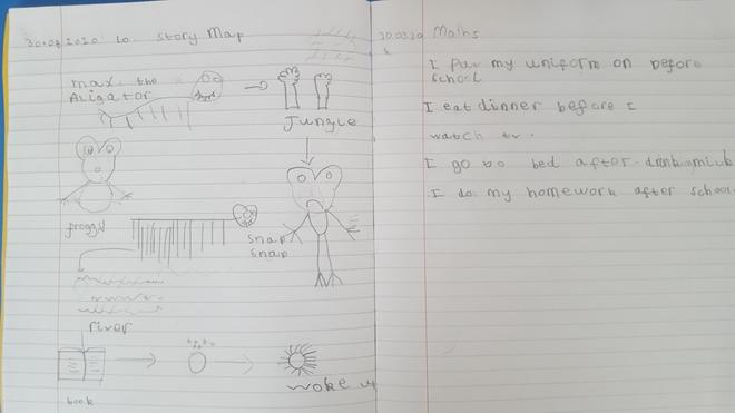 Writing and Maths task by Ayaan. E Kalter class