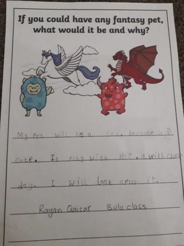 Writing-My fantasy pet by Rayan Q., Bulu class
