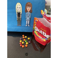 Snacking on skittles from Eva