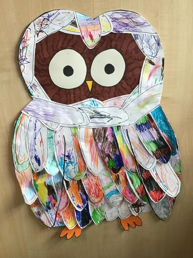 Our finished owl! Find him in the nursery's window 🦉