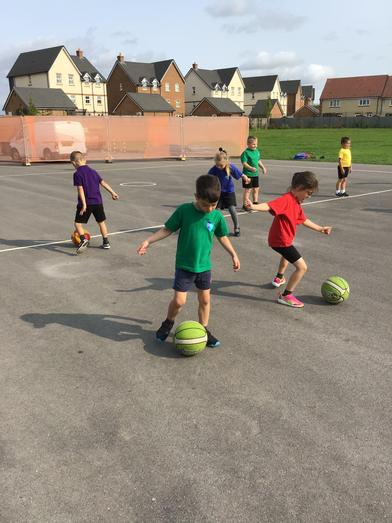 Dribbling a ball with control