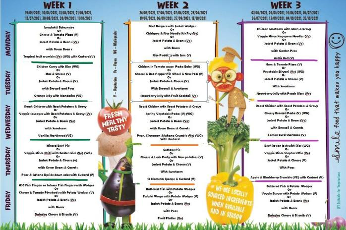 Menu for Spring/Summer term