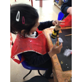 We thought about how bee's have a pattern. We painted stripy pattern's for the bee's body