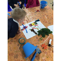 Sorting the natural materials into the colour groups.