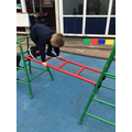 Persevering on the climbing frame by crawling across the ladder.