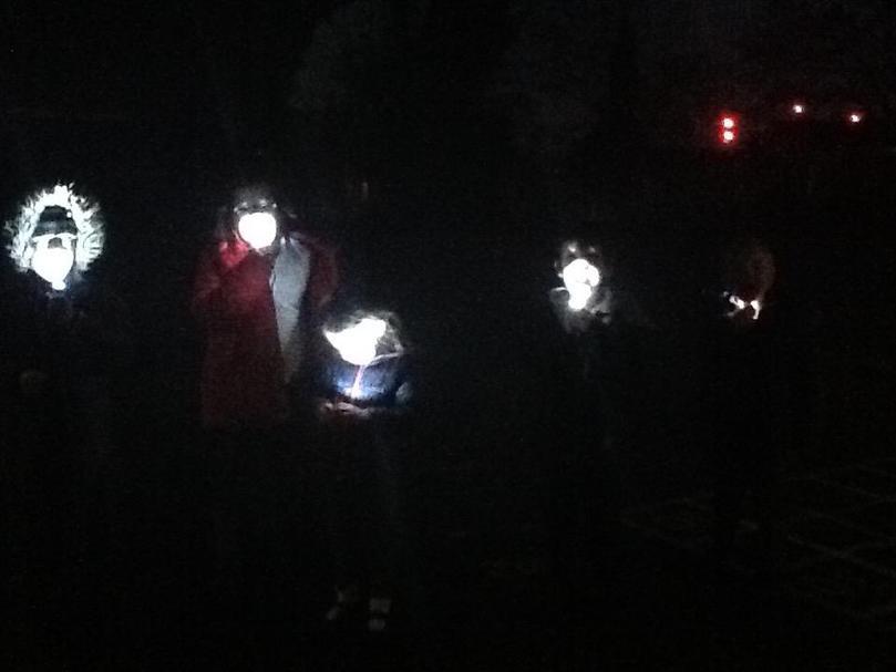 Outside fun in the dark.