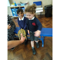 """We met two tortoises. We noticed that the shell is """"bumpy""""."""