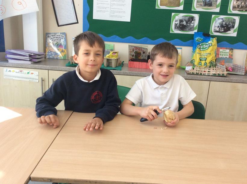 Alex and Louie peeling a potato.