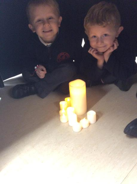 We used battery candles and sat under a dark table