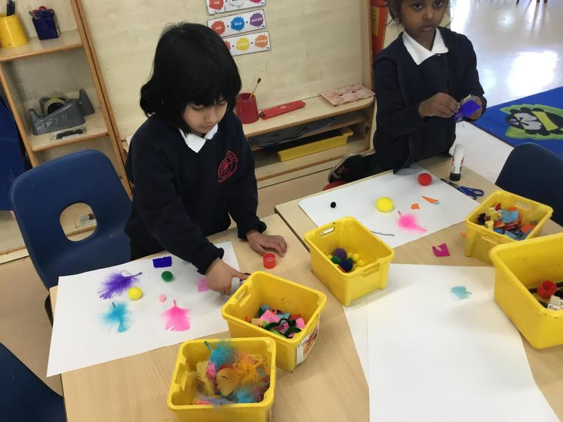 Expressive Arts and Design (EAD) - Using collage materials to create beautiful artwork