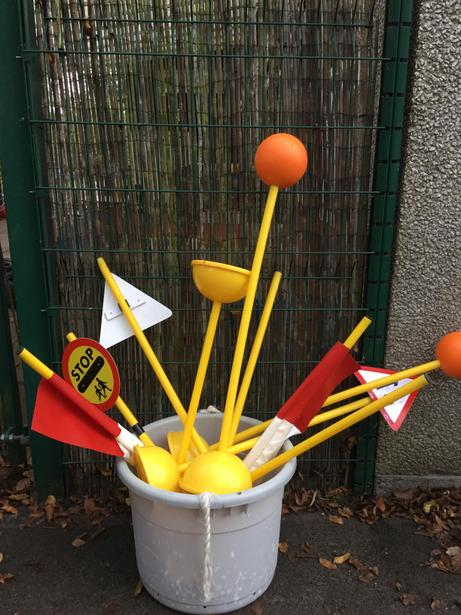 We have road signs in our outdoor area so we can practise these new skills.