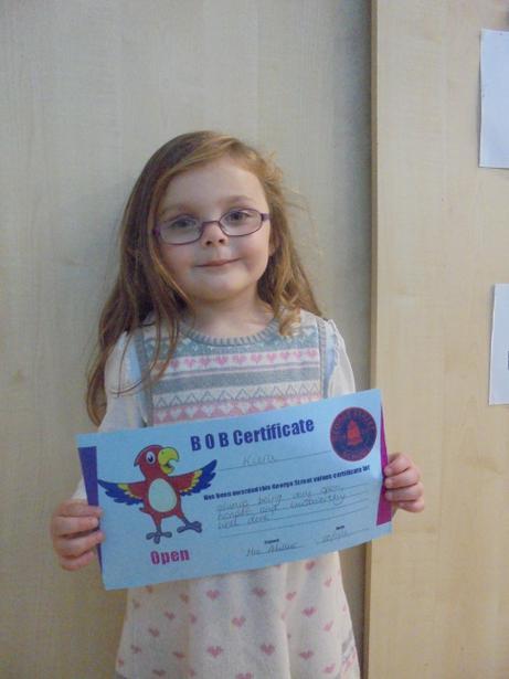 Kiera got a BOB certificate for being open