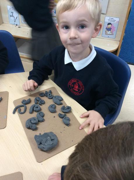 We made play dough spirals