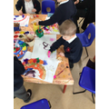 We created rainbows, choosing paints, pencils, paint sticks and collage materials.