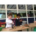 Practising joining skills using wire.