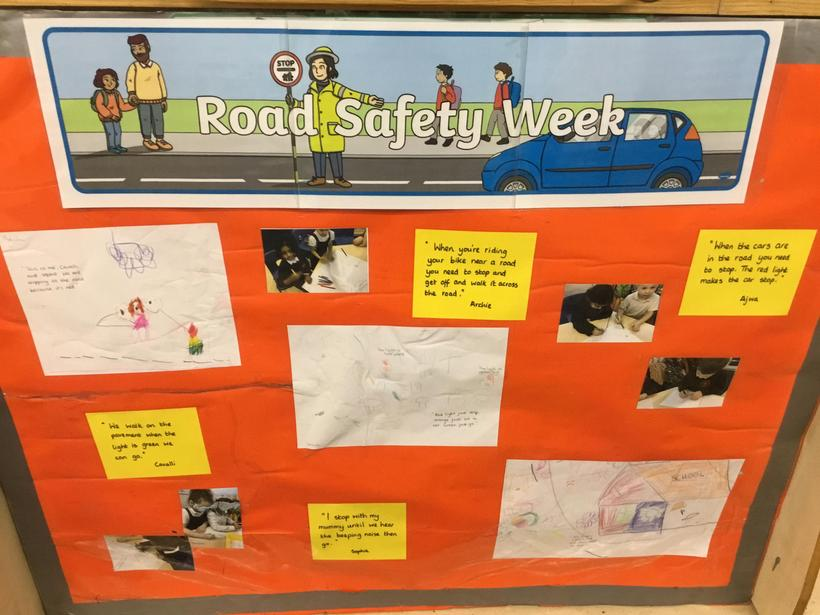 This is our class Road Safety display. We drew pictures to remind us how to stay safe.