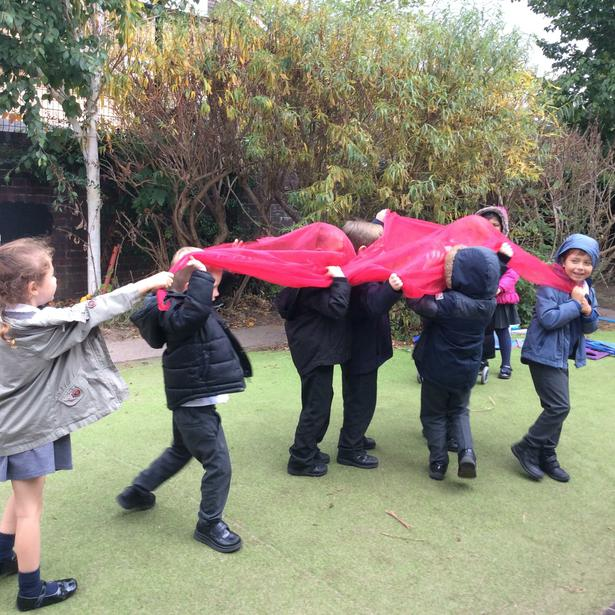 We made our own umbrella using the material.
