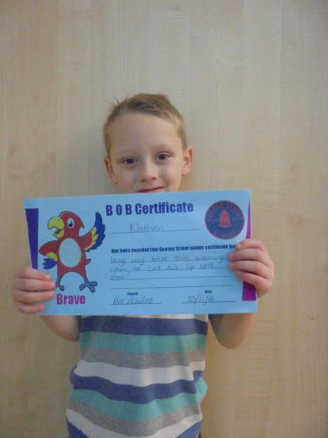 Nathan got a BOB certificate for being brave