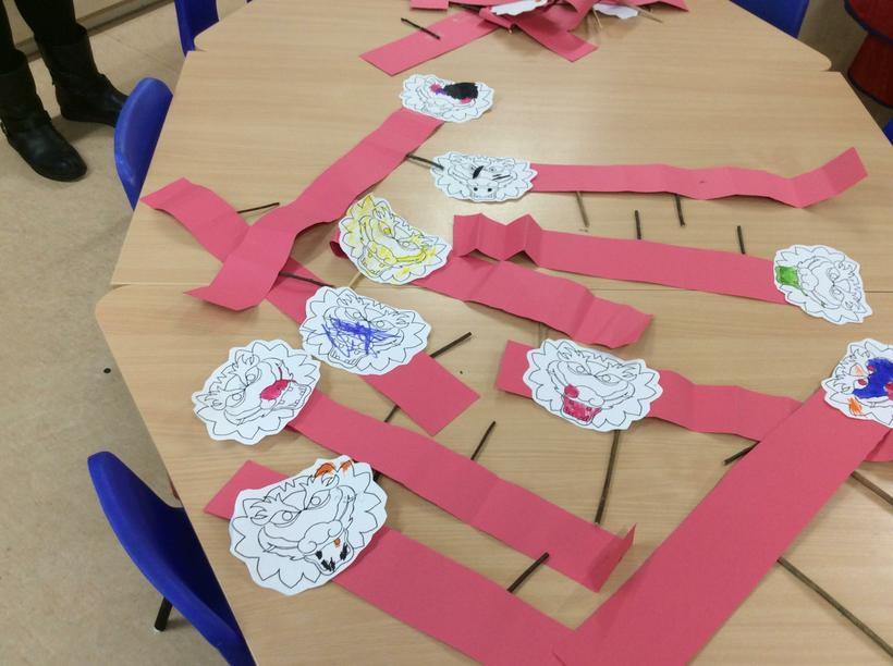 Folded Chinese dragons