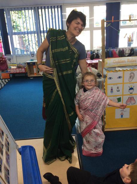 Mrs.Boyle helped Kiera to put on a saari too.