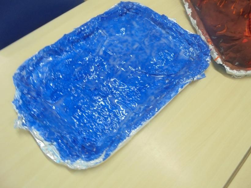 We made a lake too to add to our small world area