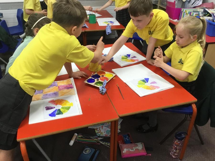 Arts Week - exploring the colour wheel chart.