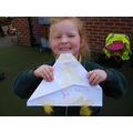 Amelia made her own kite to fly outside