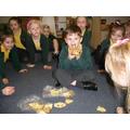 Laken showing us his potato hedgehog