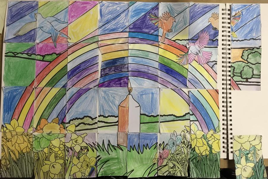 PSHE - National COVID Remembrance Day - whole class artwork.