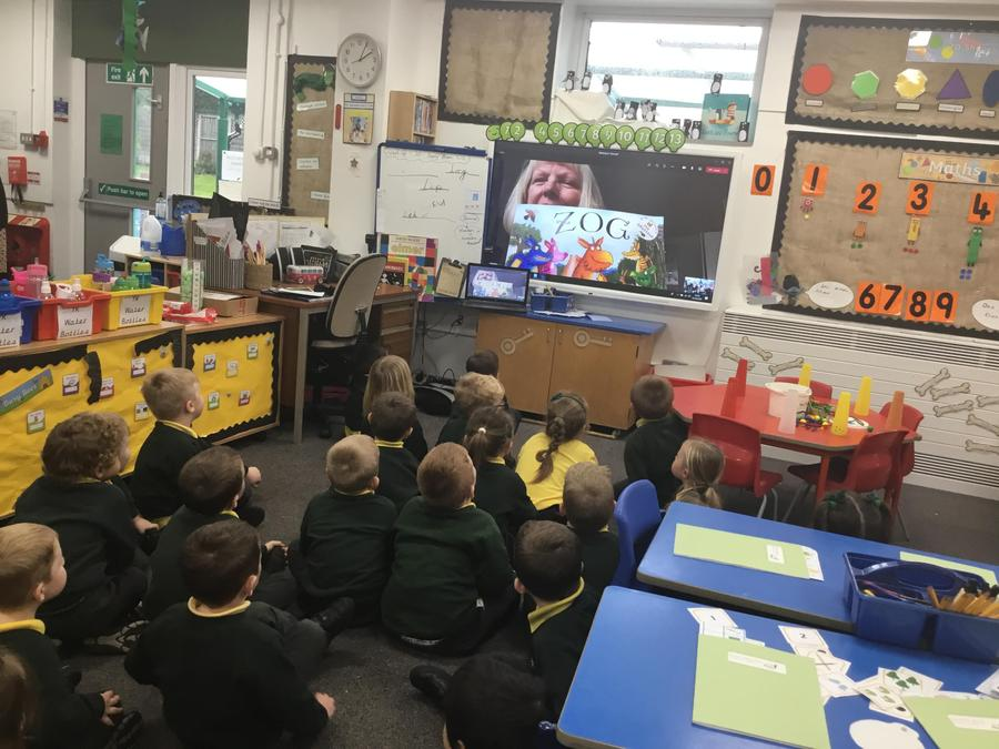 Liz Haworth reading to Reception as one of their class governors,  21.10.20