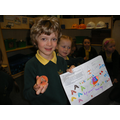 Alexander with his homework star slip and potato