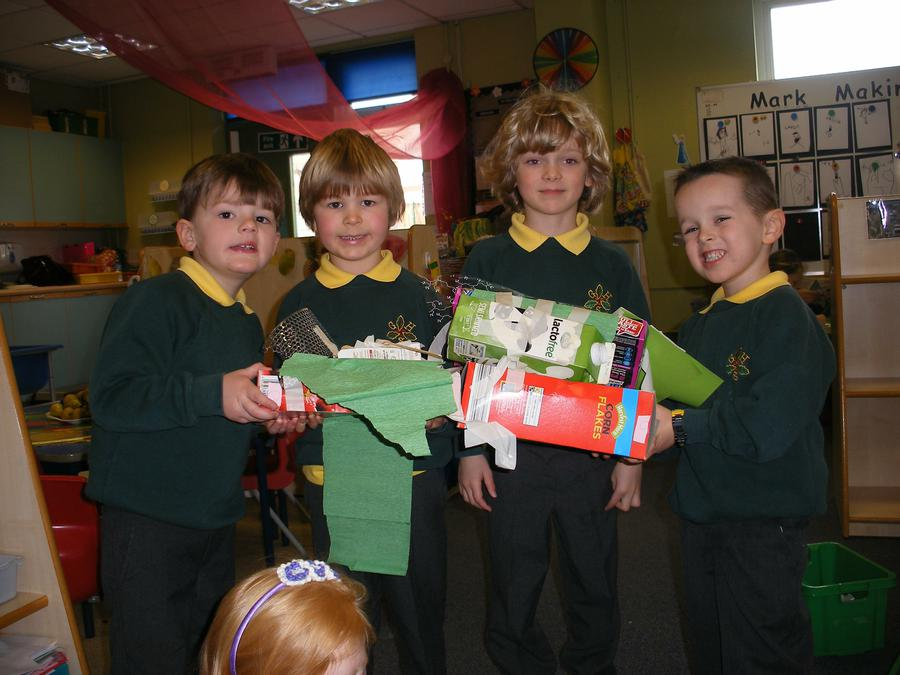 The boys worked together to make a Star Wars model