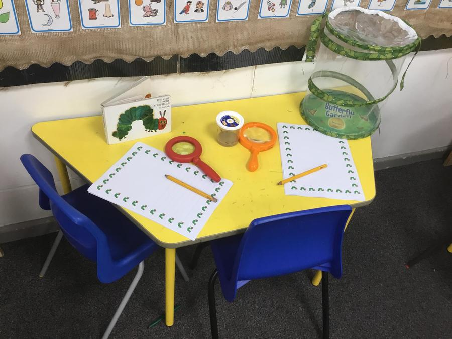 Our writing area is ready to go
