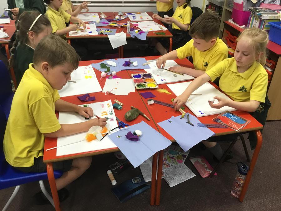 Arts Week - making DIY paintbrushes and using them to create a painting.