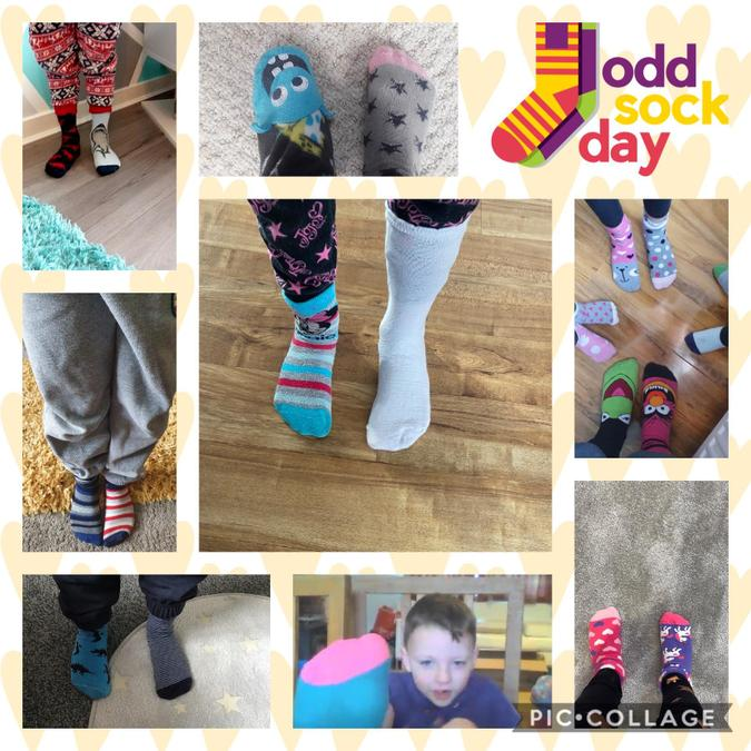 Wearing odd socks to show we want to stamp out bullying