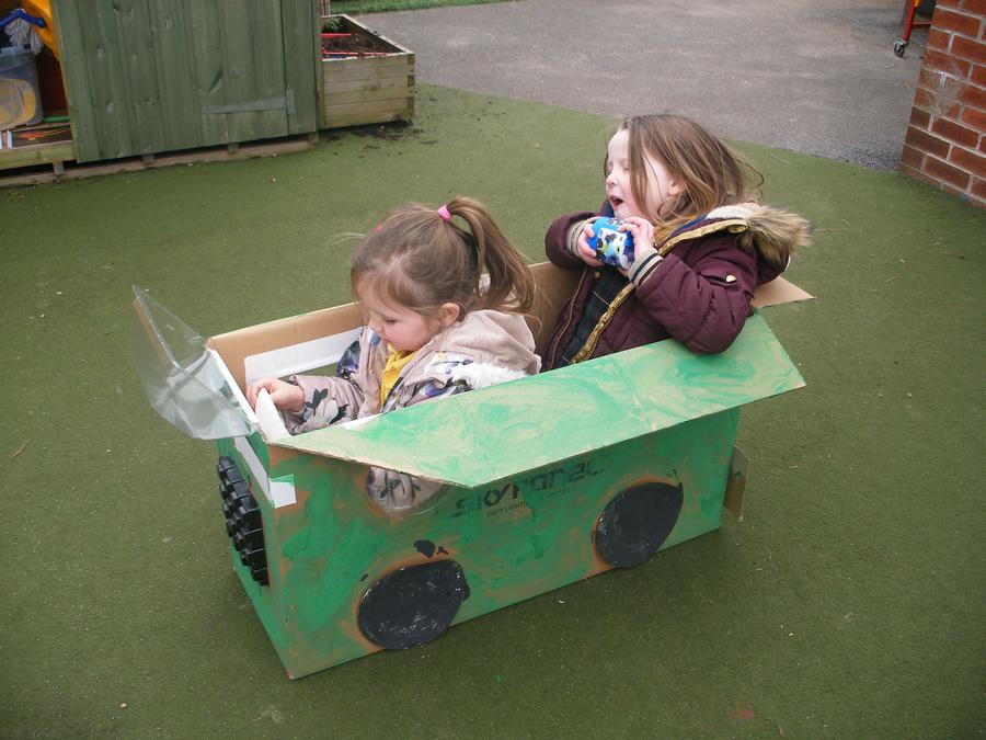 The girls used the bus as the Titanic ship