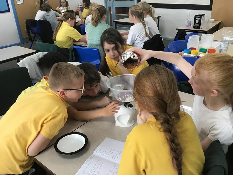 Weighing out ingredients to make Romanian chocolate cake - Y5