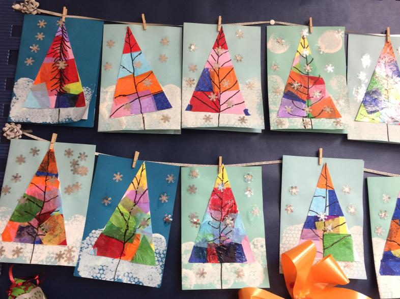 Christmas cards-Tissue collage, colour & pattern.